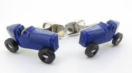 A Fine Pair Of Paul Longmire 18k Gold Lapis Lazuli Vintage Car Cufflinks