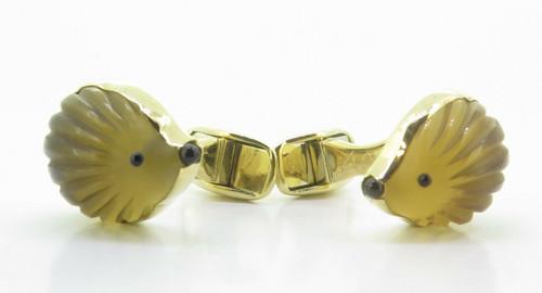 A Fine Pair Of Paul Longmire 18k Gold Carved Hedgehog Cufflinks