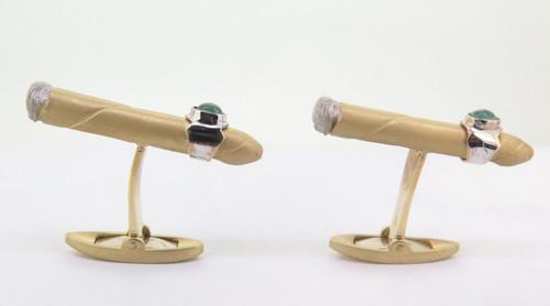 A Pair of Vintage Cigart Men's 18k Gold Emerald Set Cigar Cufflinks