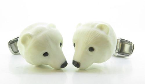 A Fine Pair Of Paul Longmire 18k Gold Carved Polar Bear Cufflinks