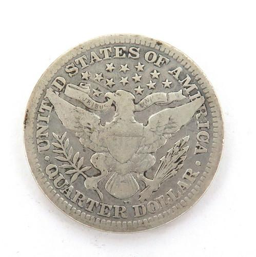 1908 US SILVER QUARTER DOLLAR.