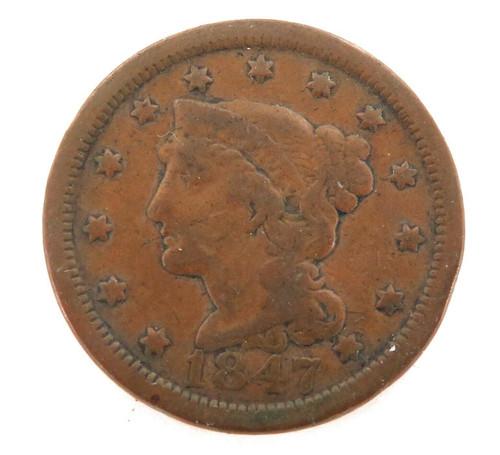 1847 USA 1 CENT. REASONABLE GRADE.