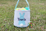 Easter Basket Canvas Check Bunny