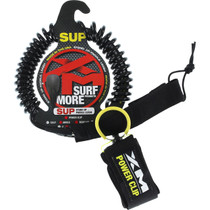 Xm Sup Power-Clip Coiled Reg Ankle Leash 11' Black