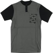 Inde Og Pattern Henley Ss S-Dk.Grey/Blk