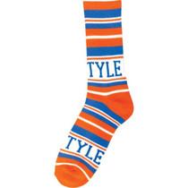 Bro Style Home Team Crew Socks-Org/Blue 1 Pair