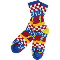 Bro Style Lightening Bolt Crew Socks-Blue 1 Pair