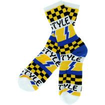 Bro Style Lightening Bolt Crew Socks-Wht 1 Pair