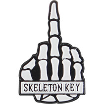 Skeleton Key Middle Finger Enamel Pin Wht/Blk