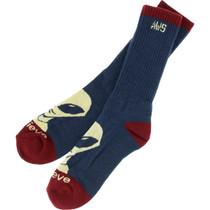 Aw Believe Crew Socks Slate Heather Blue/Red 1Pr
