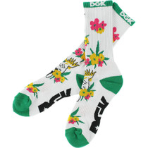 Dgk Fly High Crew Socks Wht/Teal/Pink/Yel 1Pair