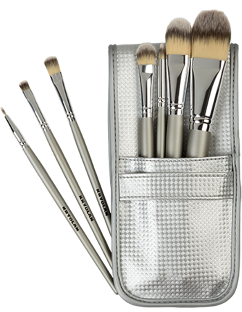 7-Piece Brush Set in Silver Pouch