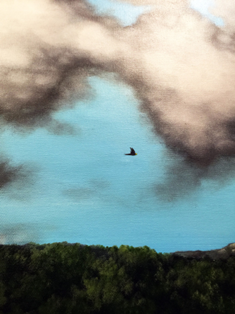 "Detail of ""Lone Flight"" Acrylic Painting."