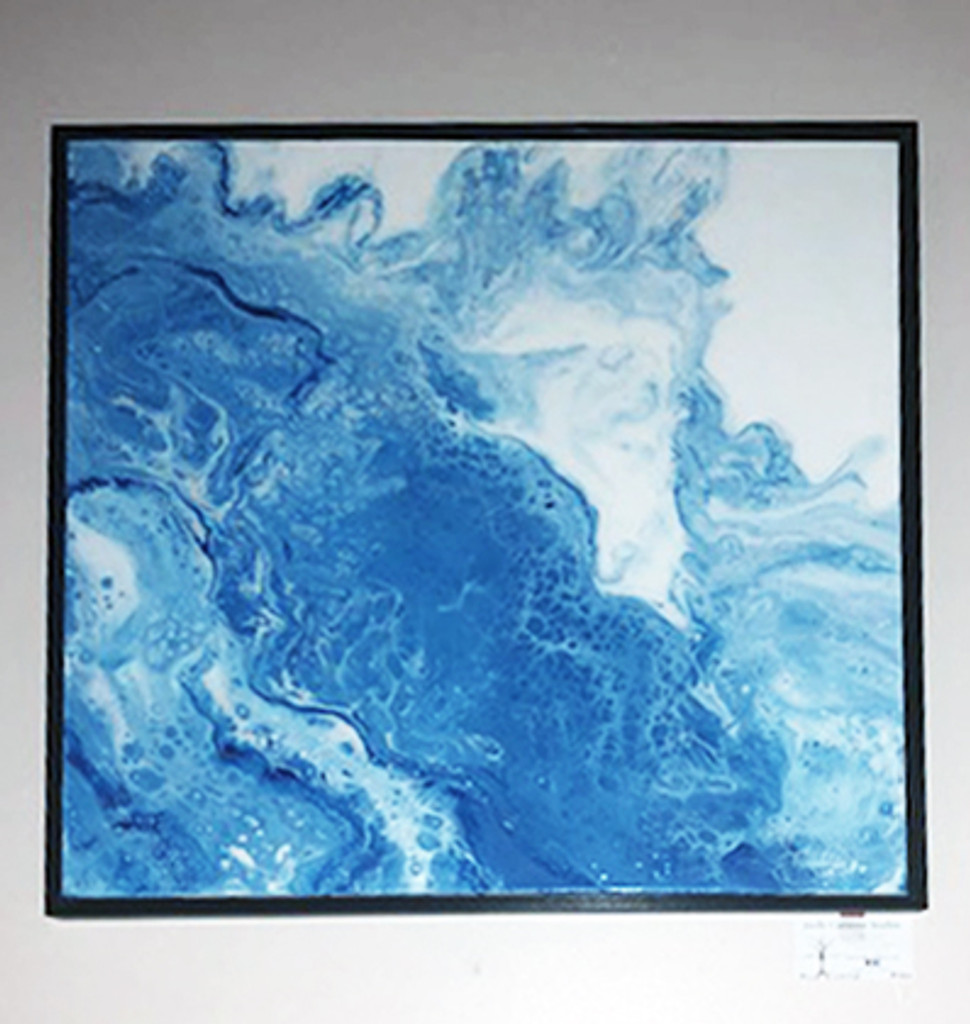 """""""Blue & White""""  Fluid Resin & Acrylic PAINTING.  24"""" x 24"""" (SOLD)"""