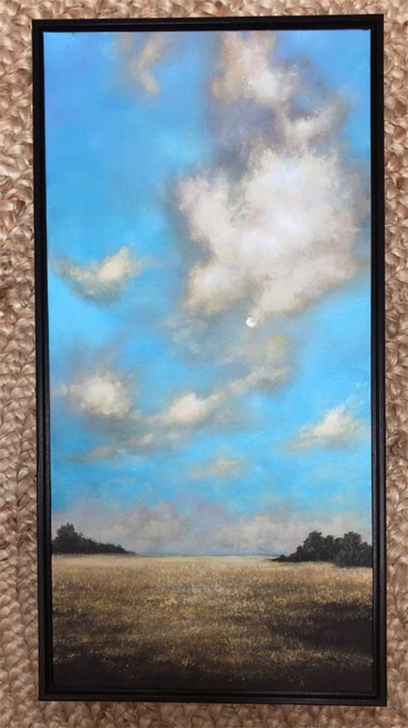 """MORNING MEADOW"" Acrylic Painting with Frame 12"" x 24"""