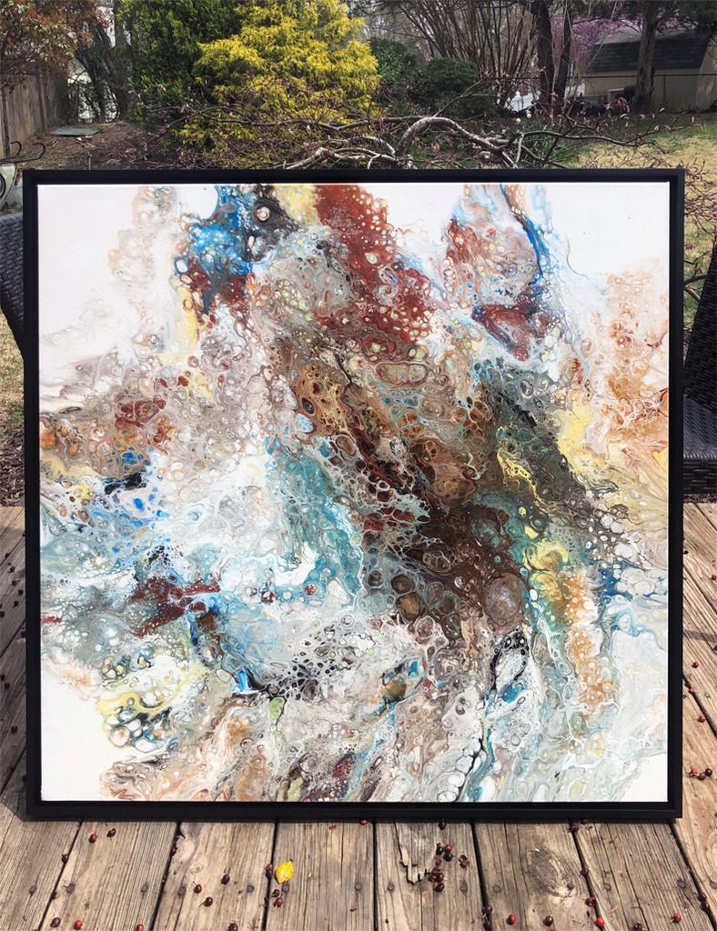 """SPLASH OF EARTH""  Fluid Acrylic Painting (SOLD)"
