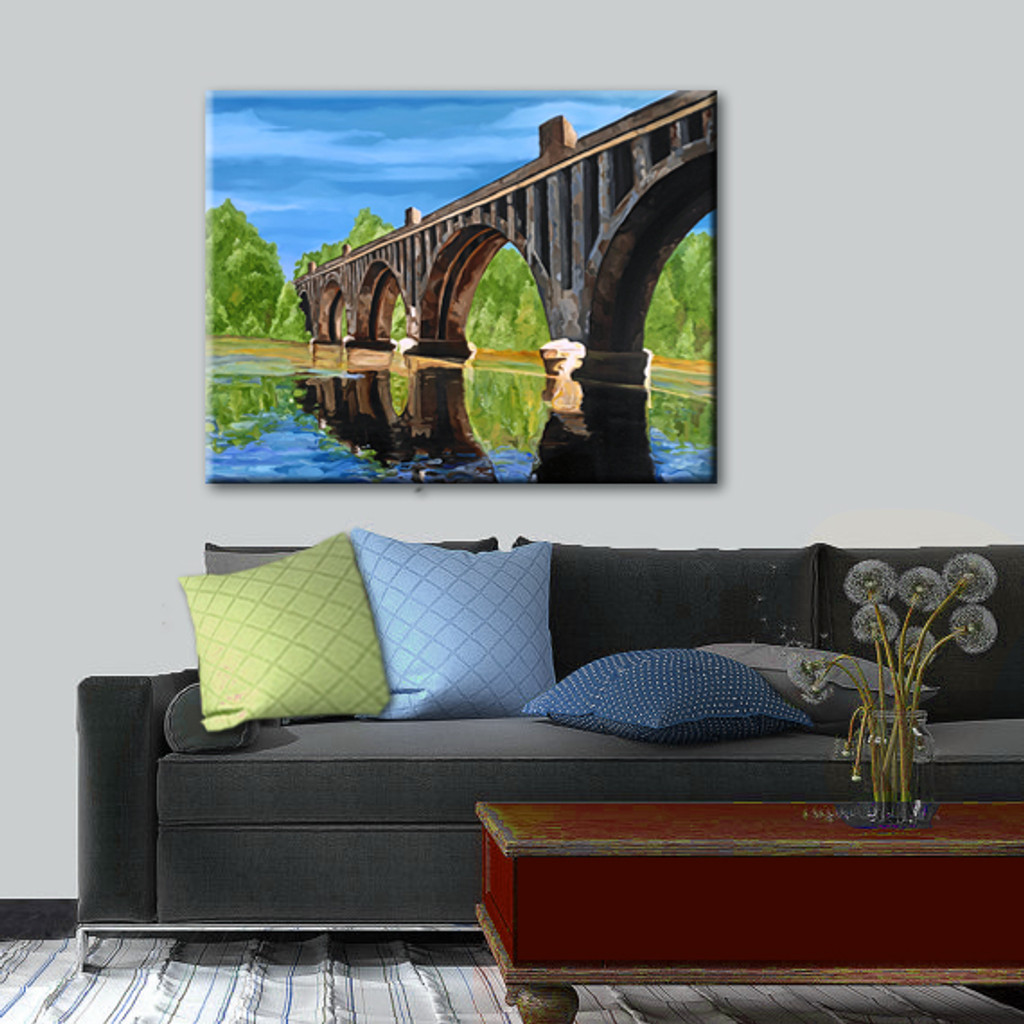 """ FREDERICKSBURG TRAIN BRIDGE "" Hand Embellished Canvas Print"