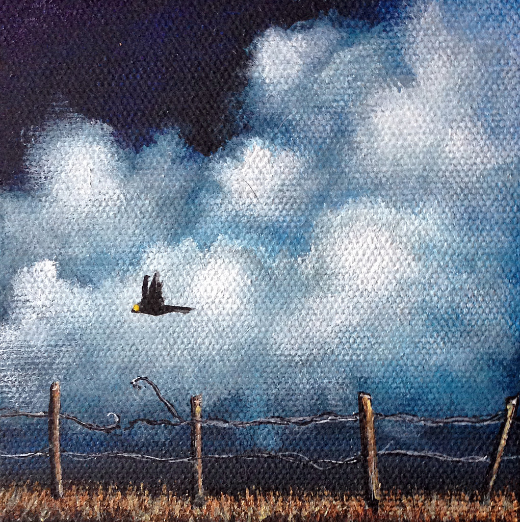 """""""FIELD TRIP"""" Miniature Crows Painting w/ Easel. Made to Order."""