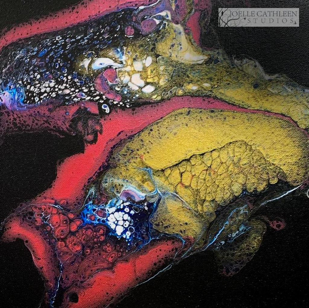 """""""Carnation & Charcoal""""  Fluid Acrylic On Canvas"""