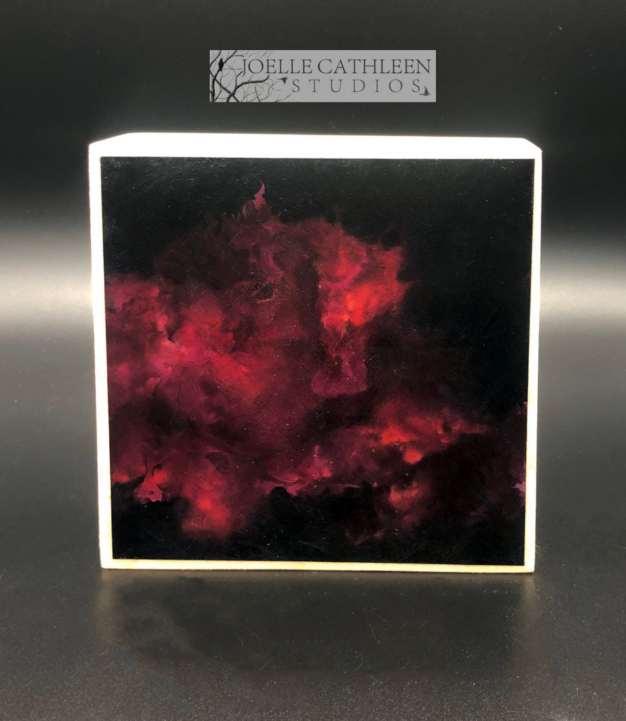 """Crimson Smoke"" Alcohol Ink Painting 5"" x 5"" x 1.5"""