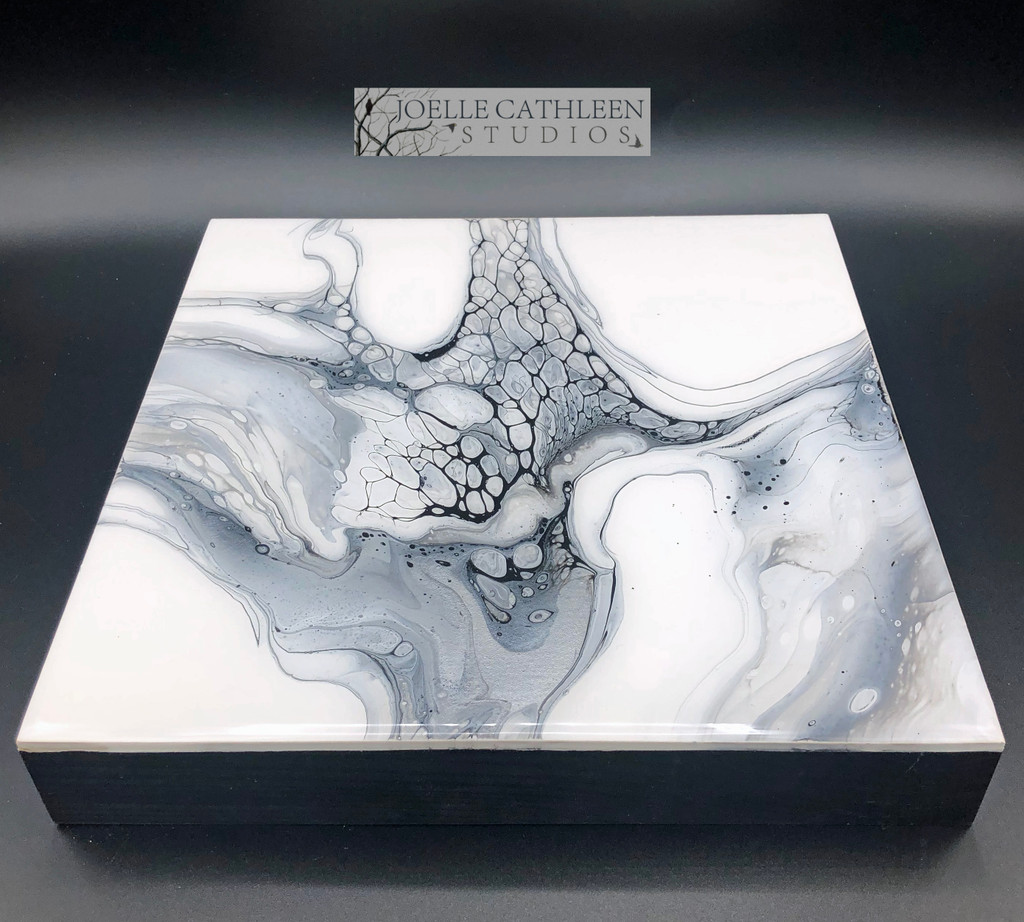 """""""Silver & Charcoal""""  Fluid Acrylic On Cradled Board (SOLD)"""