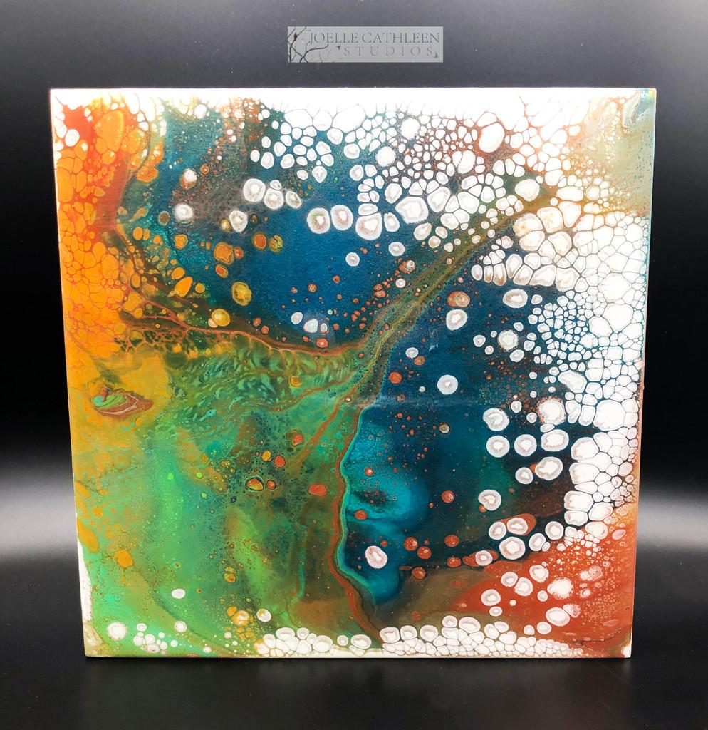 """""""Ocean Pop"""" Fluid Acrylic On Cradled Board"""