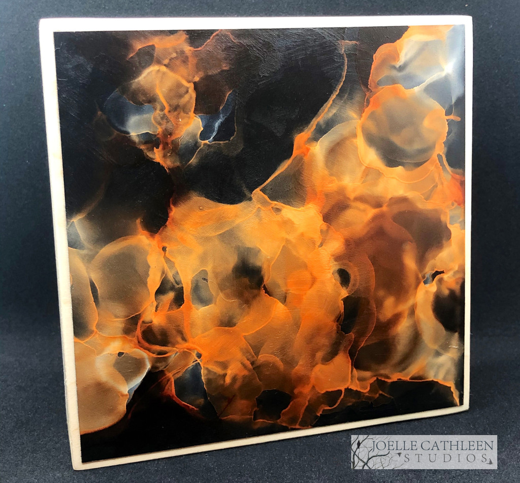"""""""Flame"""" Alcohol Ink Painting 5"""" x 5"""" x 1.5"""" (SOLD)"""