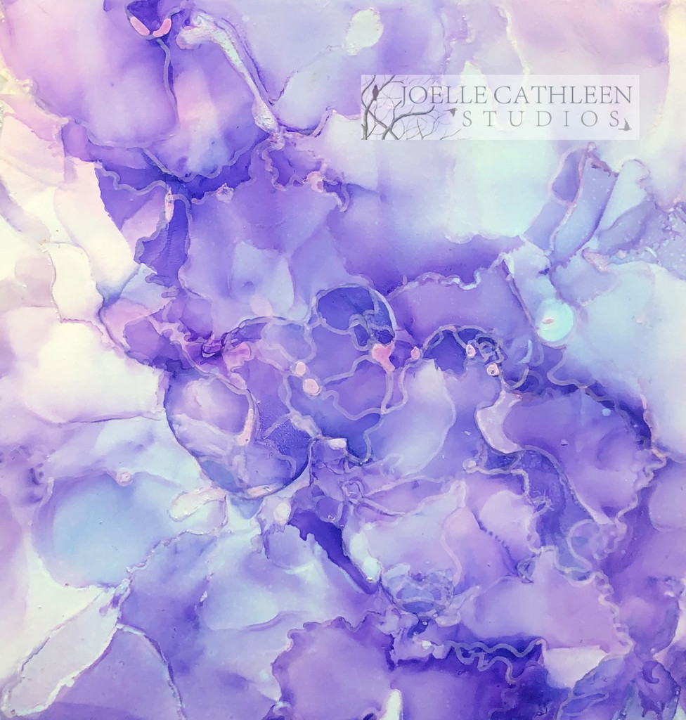 """Lilacs""  Alcohol Ink Painting 5"" x 5"" x 1.5"""