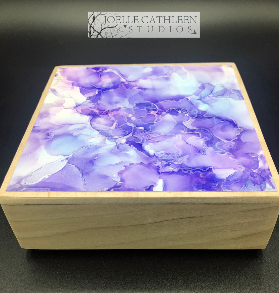 """""""Lilacs""""  Alcohol Ink Painting 5"""" x 5"""" x 1.5"""""""