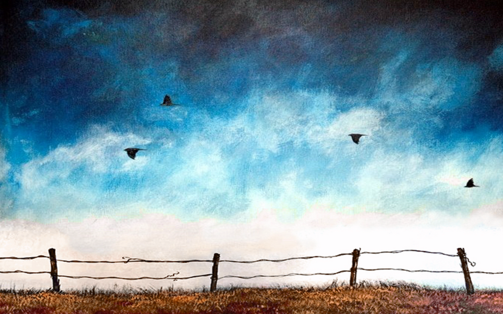 Option 6: Flying Birds over a fence line. You pick Sky and Ground Colors.