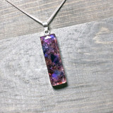 """Violet Crush"" Crushed Stained Glass .925 Pendant (Made to Order)"