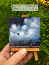 """FIELD TRIP"" Miniature Crows Painting w/ Easel. Made to Order."