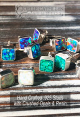 Crushed Opal Stud Earrings (Custom Order)