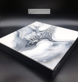 """Silver & Charcoal""  Fluid Acrylic On Cradled Board (SOLD)"