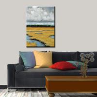 """""""GOLDEN MARSH"""" Hand Embellished Canvas Print"""