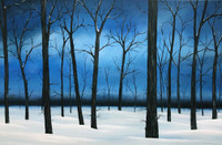 """WINTER'S HUSH"" Acrylic Painting with Frame 24"" x 36"""