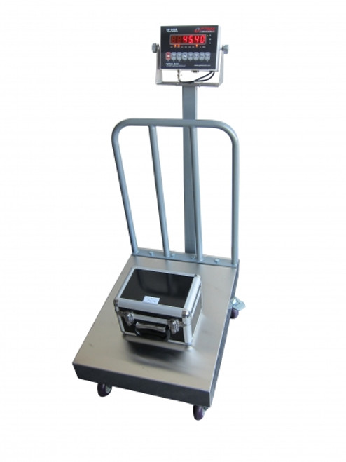 """Bench Scale with Backrail and Wheels 18""""x24""""x8.5""""(H) 500lbs"""