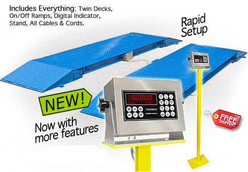 """TS60-730-AW Two 7' x 30"""" Axle Scale Platforms with Ramps, Capacity 60,000 lb x 20 lb"""
