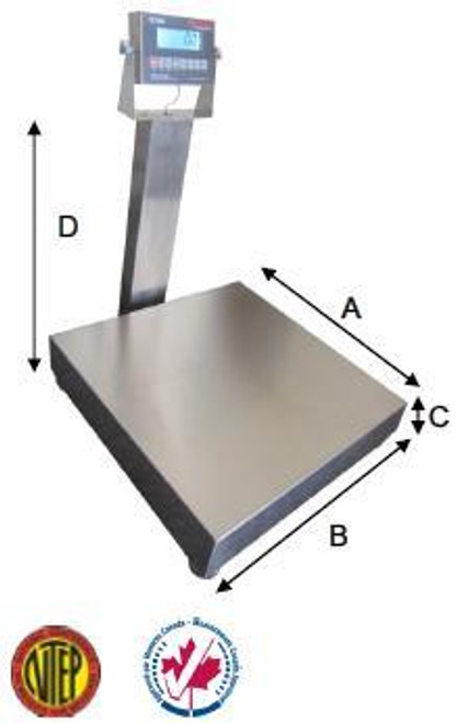 """Stainless Steel Washdown Bench Scale 16""""x20""""x4.25""""(H) 400lbs"""