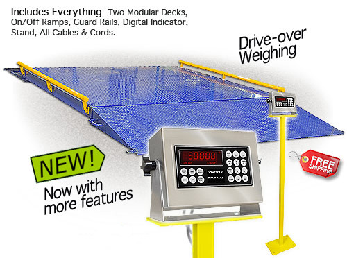 """TS60-1010 10' x 10' x 8.5"""" Heavy Duty Platform Scale, Indicator Stand, Two 49"""" x 10' On / Off Ramps, Side Rails"""