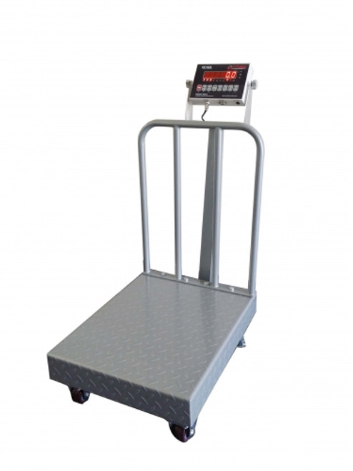"""Bench Scales with Backrail, Wheels, Diamond Plate 18""""x24""""x8.5""""(H) 500lbs"""