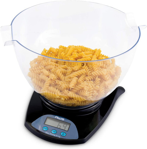 PRECISION DIGITAL KITCHEN FOOD WEIGHT SCALE WITH REMOVABLE BOWL, BLACK, 5KG X 1G (HB-11)
