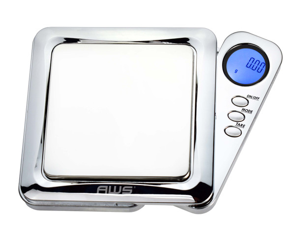 BLADE SERIES DIGITAL PRECISION POCKET WEIGHT SCALE WITH SILICONE MAT, CHROME, 100G X 0.01G (BL-100-CH-SE)