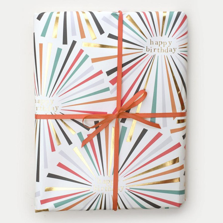 Rainbow Burst Foil Birthday- Sheet Of Paper