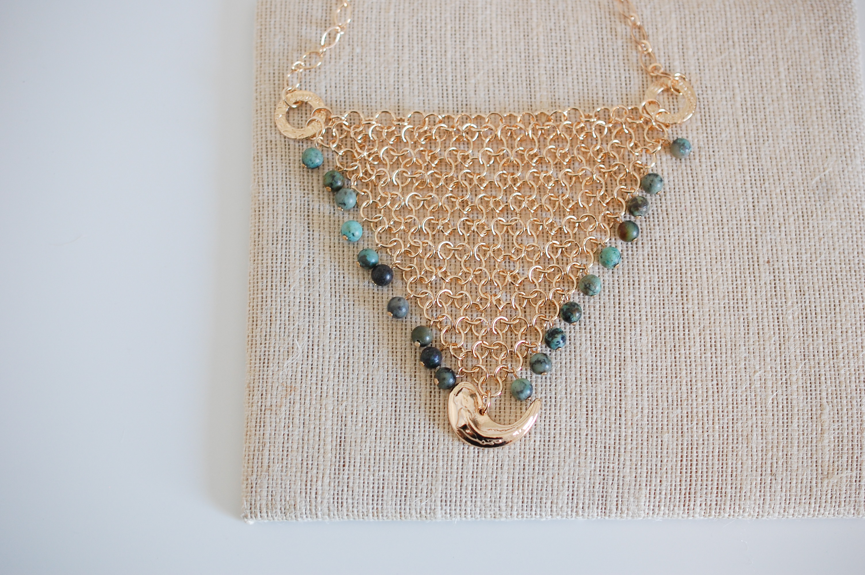 Deep Sea Net Necklace in African Turquoise