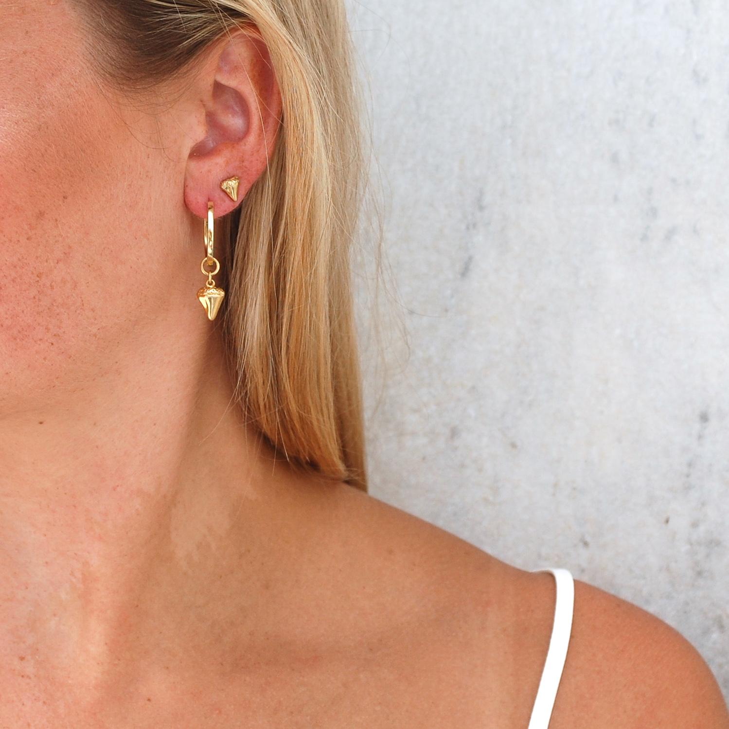 Bite Me Stud Earrings in Gold