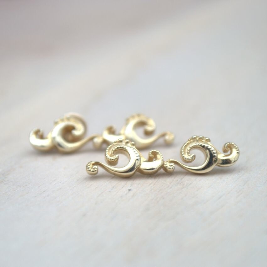Wave Crawler Earrings in Gold