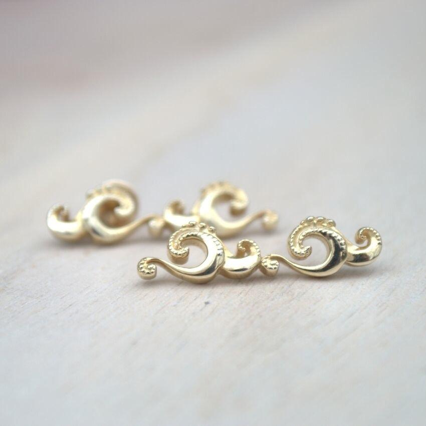 Wave Crawler Earrings in Gold