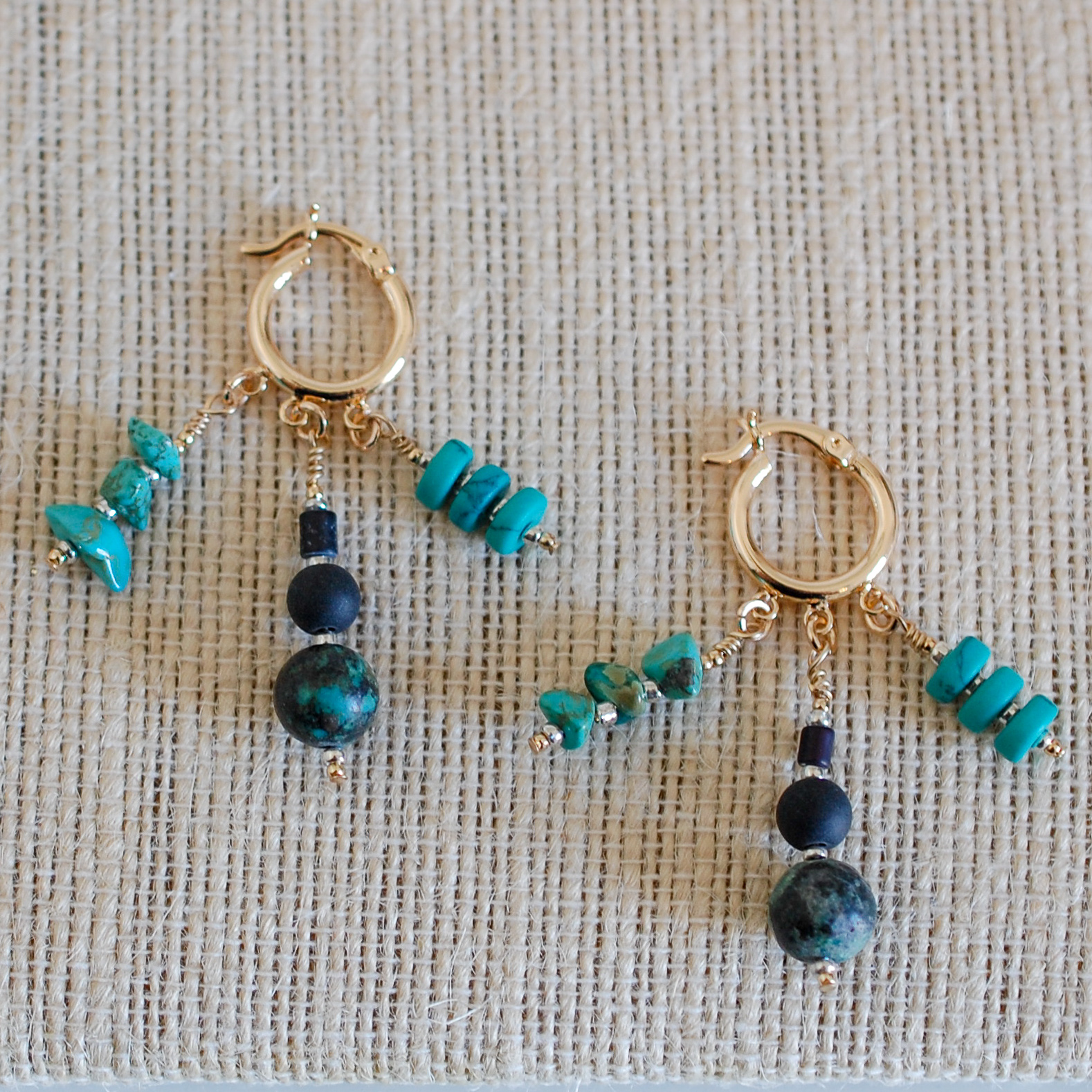 Turquoise Dancing Huggie Earrings