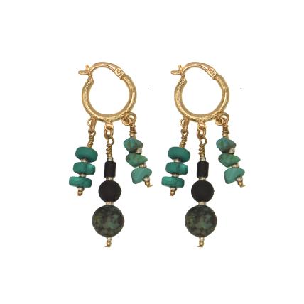Turquoise Dancing Huggie Earrings